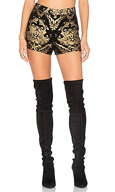 Marisa Back Zip Shorts in Black & Gold