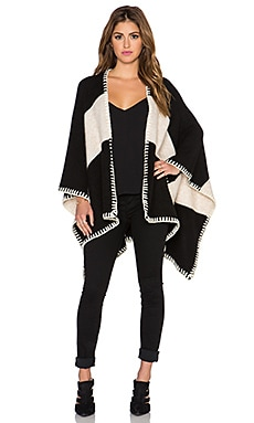 Alice + Olivia Kamala Poncho in Black & Cream