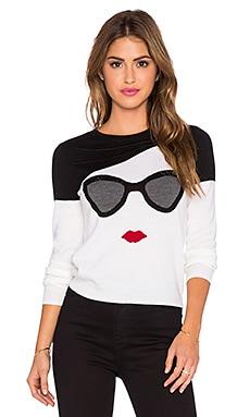 Alice + Olivia Detachable Fur Collar Face Sweater in White Multi
