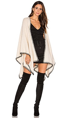 Alice + Olivia Kamala Oversized Poncho in Oatmeal Heather & Stone