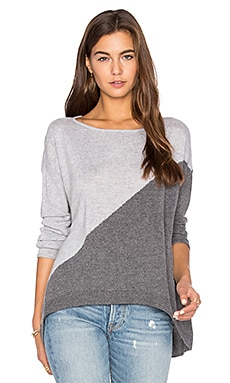 Abbie Colorblock Sweater in Charcoal & Dove Grey