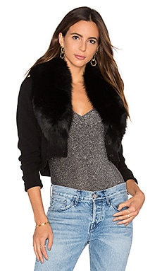 Alice + Olivia Lily Silver Blue Fox Fur Cardigan in Black
