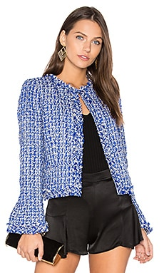 Nila Frayed Hem Box Jacket en Cobalt Multi