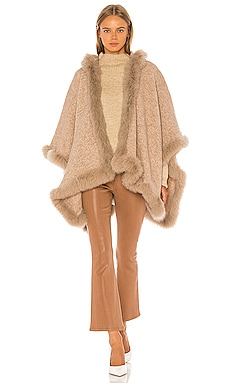 Kamala Oversize Poncho With Fur Alice + Olivia $895