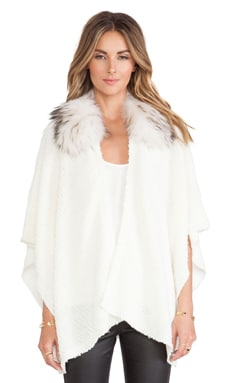 Alice + Olivia Zoe Asiatic Raccoon Fur Collar Poncho in Cream