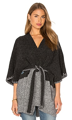 Alice + Olivia Rikkie Poncho in Charcoal & Light Grey