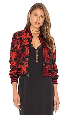 Alice + Olivia Lonnie Cropped Bomber Jacket in Black & Ruby