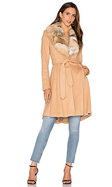 Alice + Olivia Nikita Natural Fox Fur Coat in Light Camel