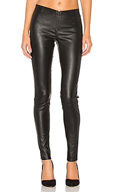 Front Zip Leather Legging in Schwarz