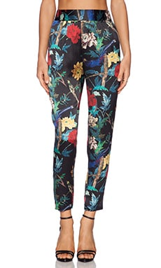 Alice + Olivia Gathered Straight Leg Trouser in Floral Bird