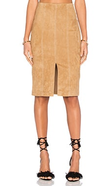 Kori Suede Skirt in Tan