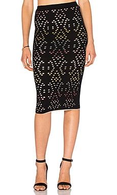 Ani Pencil Skirt em Black & Multi
