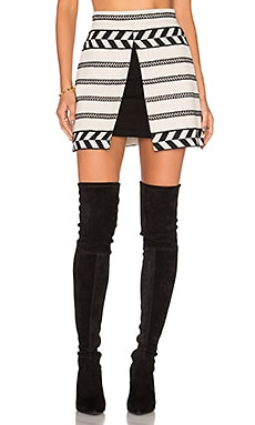 Alice + Olivia Daysi Mini Skirt in Cream & Black