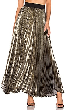 Alice + Olivia Katz Pleated Maxi Skirt in Gold & Black