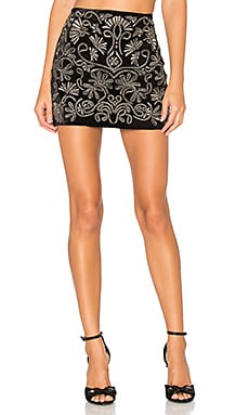 Elana Embroidered Skirt en Negro & Plateado