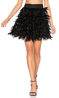 Cina Feather Mini Skirt em Preto