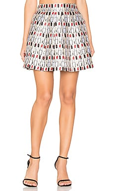 Fizer Pleat Mini Skirt in Cream, Black & Red