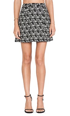 Alice + Olivia Karlie Mini Skirt in Black & Cream