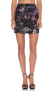Alice + Olivia Riley A-Line Skirt in Black Multi