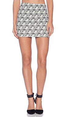 Alice + Olivia Elana Mini Skirt in Cream & Black