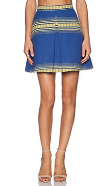 Alice + Olivia Russo Inverted Pleat Skirt in Royal Zapotec