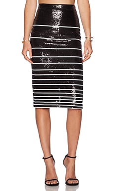 Alice + Olivia Rue Sequin Stripe Pencil Skirt in Black & White