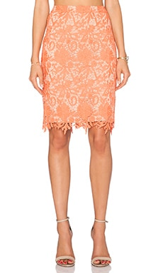 Farrel Midi Pencil Skirt in Coral & Nude