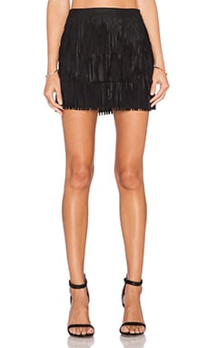 Alice + Olivia Lavana Fringe Skirt in Black
