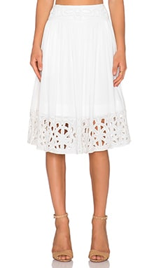 Alice + Olivia Joanna Midi Skirt in White