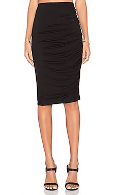 Alice + Olivia Fitted Draped Skirt in Black