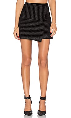 Alice + Olivia Lennon Crossover Angled Skirt in Black & White
