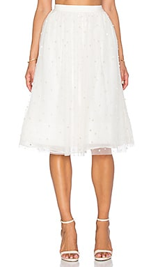 Alice + Olivia Aubreanna Embellished Skirt in Cream