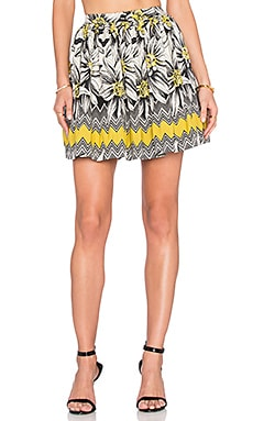 Alice + Olivia Tania Skirt in Black & Cream & Yellow
