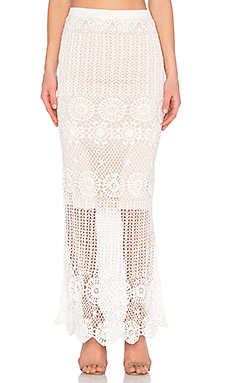Alice + Olivia Griselda Skirt in Cream & Nude