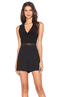 Alice + Olivia Mara V Neck Romper in Black