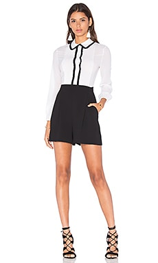 Alice + Olivia Kara Blouse Romper in Black & White