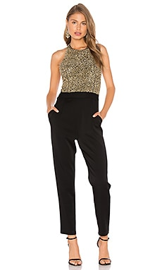 Alice + Olivia Jeri Embellished Jumpsuit in Black & Gold