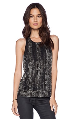 Alice + Olivia Brie Embellished Tank in Black / Antique