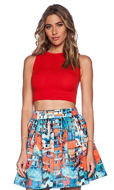 Alice + Olivia Sosie Fitted Tank Crop Top in Red