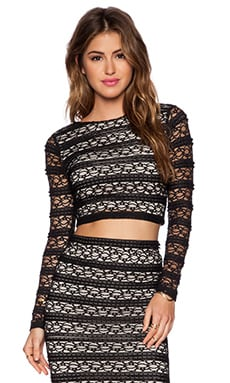 Alice + Olivia Rilo Crop Top in Black & Cream