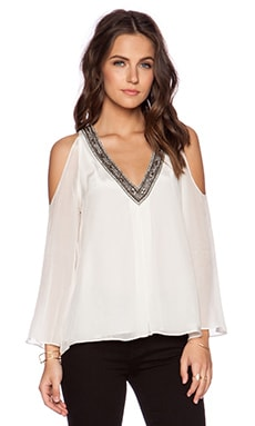 Alice + Olivia Rivera Embellished Top in Off White