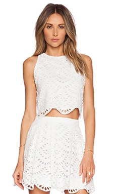 Alice + Olivia Tamra Crew Neck Tank in White