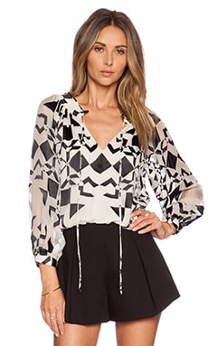 Alice + Olivia Tammie Peasant Top in Diamond Kaleidoscope