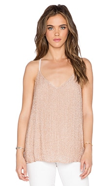 Alice + Olivia Lola Sequined Racerback Tank in Nude