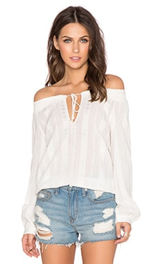 Alice + Olivia Jayne Peasant Top in White