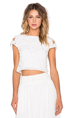 Alice + Olivia Abbi Crop Top in White