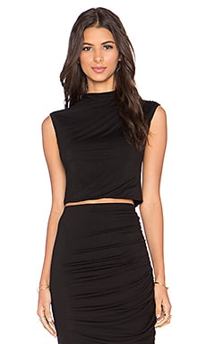 Cropped High Neck Top in Black