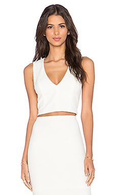 Alice + Olivia Jaya V Neck Crop Top in Cream