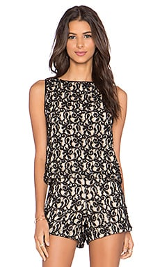 Alice + Olivia Amal Boxy Tank in Natural & Black