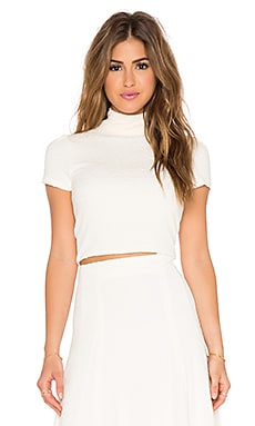 Alice + Olivia Giorgia Mockneck Top in Cream